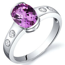1.75 cts Pink Sapphire Half Bezel Solitaire Ring Sterling Silver Size 5 to 9