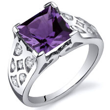 V Prong Princess Cut 3.00 cts Alexandrite CZ Ring Sterling Silver Sizes 5 to 9