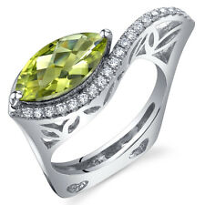 Filigree Style 2.00 cts Marquise Cut Peridot Ring Sterling Silver Size 5 to 9