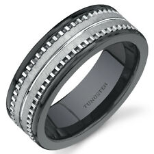 Flat Edge 7 mm Mens Black Ceramic and Tungsten Combination Ring Sizes 8 to 13