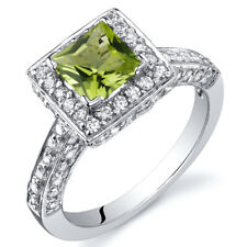 Princess Cut 0.75 cts Peridot Engagement Ring Sterling Silver Size 5 to 9