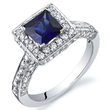 Princess Cut 1.00 cts Blue Sapphire Engagement Ring Sterling Silver Size 5 to 9