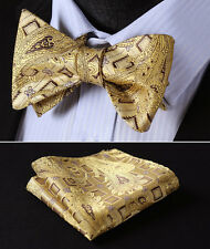 BFC002Y Yellow Gold Brown Paisley Bowtie Silk Men Self Bow Tie Pocket Square Set