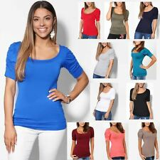 Womens Simple Ruched Sleeve Stretch Jersey Tee T-shirt Top Long Tunic Size 4-16