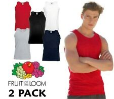 2 Pack Mens Fruit of the Loom Vests Cotton Tank Top Gym Sale T Shirt Top