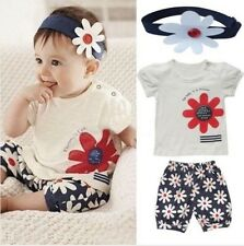 3pcs Baby Clothes Set Girl Kids T-shirt Headband+Top+Pants Shorts Flower Outfit