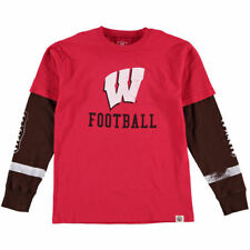 Youth Wes & Willy Red Wisconsin Badgers Football Fooler Long Sleeve T-Shirt
