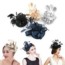 New Lady Girl Feather Satin Fascinator Hair Clip Cocktail Hat Church Wedding