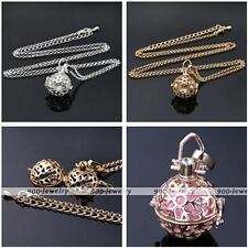 Women Snowflake Harmony Pendant Chime Bola Bead Wish Cage Pregnant Necklace Gift