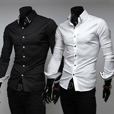 New  Mens Luxury Stylish Casual Dress Slim Fit T-Shirts Casual Long Sleeve Tops