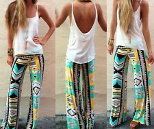 Boho JT Women Casual Pants Wide Leg Long Loose Palazzo Trousers Beach Pants