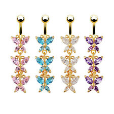 Fashion Butterfly Crystal Belly Dangle Piercing Bar Navel Ring 18K Gold Plated