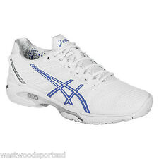 WOMEN'S ASICS GEL SOLUTION SPEED 2 TENNIS SHOES  (WHITE/ PERIWINKLE/ SILVER)