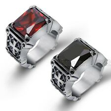 Vintage Mens Titanium Rectangle Agate Ruby Stainless Steel Ring US Size 8-15