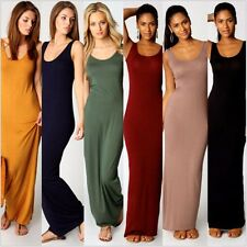 Women Vest Cotton Stretch Casual Sundress Summer Maxi Long Beach Tank Dress