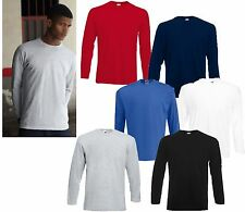 3 LONG SLEEVE MENS FRUIT OF THE LOOM COTTON T SHIRTS, CHOOSE YOUR PACK COLOURS