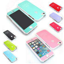 Slim Fit Jewelled Glossy Silicone Rubber Case Cover + Color Film For iPhone 5 5S