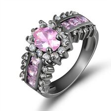Size 7,8,9,10,11 Womens Pink Sapphire AAA 10KT Gold Filled Wedding Rings Gift