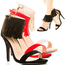 Fashion Sexy Open Toe High Stiletto Heel Fringe Ankle Strap Cuff Pump Sandal US