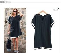 Casual Women cotton oversize  V neck tops T shirt blouse Mini dress plus size