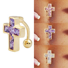 Gold Plated Crystal Cross Reverse Navel Bar Button Ring Belly Piercing Jewelry