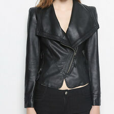 hot womens side zipper slim fit PU leather motorcycle jackets suit collar coats