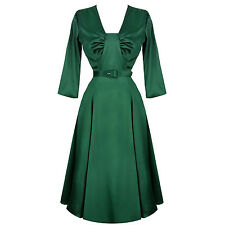 Womens New Green Satin Flared 1940s Vintage Wartime Party Evening Dress