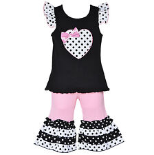 AnnLoren Girls Polka Dot Heart Valentine's Day Outfit Clothing sz 12/18 mo - 7/8