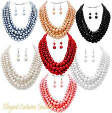 Chunky Layered Pearl Red, Black, Gray, Cream, White, Gold, Pink Necklace Set