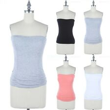 Strapless Solid Ruched Bra Padded Tube Top Casual Cute Sexy Cotton Span S M L