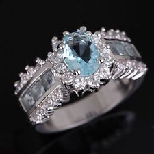 Size 7,8,9,10,11 Fashion Aquamarine 10KT Gold Filled Engagement Womans Ring Gift