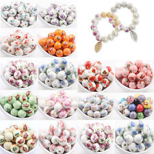 10/20Pcs Round Porcelain Ceramic Flower Design Loose Spacer Beads Jewelry DIY