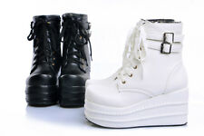 All US size womens goth lace up ankle boots platform wedge Fashion shoes Punk