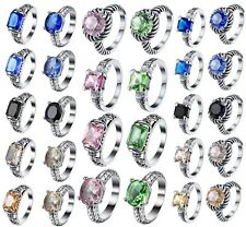 Shining Sapphire Crystals 925 Sterling Silver Engagement Ring Jewelry Size 6-9