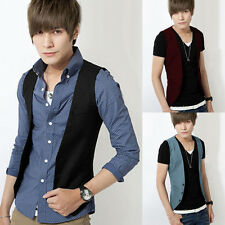 Stylish Mens Single-Breasted Slim Waistcoat Formal Vest Black Dress Suit Jacket
