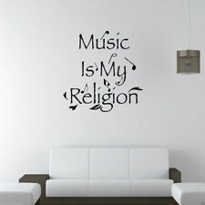 MUSIC IS MY RELIGION Room Wall Art Sticker Quote Decal Mural Stencil Transfer