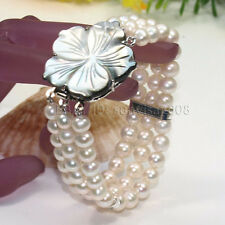 s021 3 Rows AA 7-8mm White Pink Black fresh water cultured Pearl Bracelets