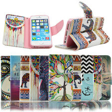 Leather Stand Wallet Case Cover Card Slot For iPhone 4 5 5C 6 Plus Printed Flip