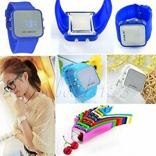 Trendy LED Digital Mirror Touch Time Sport Watches Silicone Wrist Watch Unisex