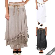 Womens Layered Tiered Frilled Gypsy Long Maxi Skirt A Line Pleated Boho Summer