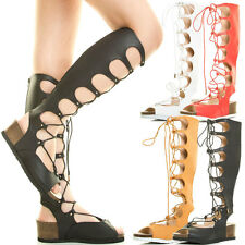 Womens Low Wedge Platform Heel CutOut Cage Strappy Lace Up Gladiator Sandal Boot