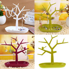 Jewelry Ring Earring Necklace Display Stand Holder Tree Organizer Show Rack Tray
