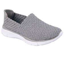 12032 Gray Skechers Shoes Walk Memory Foam New Women Slip On Woven Stretch Mesh