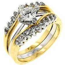 2.10CTW SOLITAIRE ENGAGEMENT TWO-TONE - WEDDING RINGS SET - 2 RINGS 5,6,7,8,9