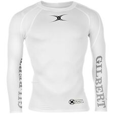 Gilbert Mens Xact Round Neck Long Sleeved Rugby Baselayer T-Shirt Tee Top
