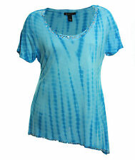 INC 0x 1x 3x Blue Tie Dye Short Sleeve Embellished Knit Top Tee NWT FREE SHIP