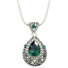 Indian Princess Crystal Bollywood Pendant Necklace Emerald Green Sapphire Blue