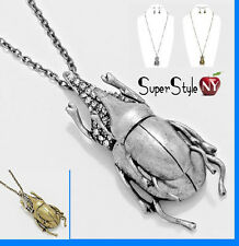 Scarab Bug Wings Egyptain Insect Money Luck Pendant Chain Long Necklace Earrings