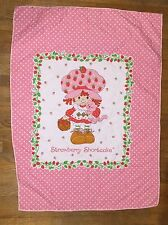 VINTAGE STRAWBERRY SHORTCAKE QUILT PANEL LAP THROW BABY BLANKET WALL HANGING