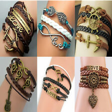 Infinity Charm Leather Rope beaded Bangle DIY Bracelet Hot Anchor Rudder Love